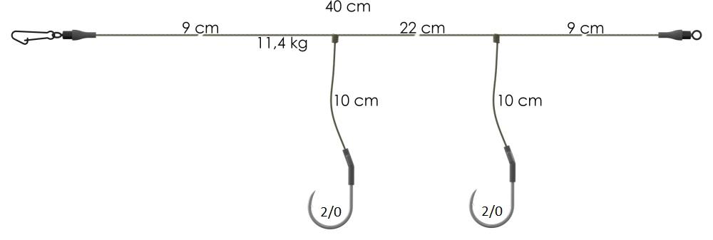 AKCE Koncový návazec 40cm 11,4kg 2/0 (2ks)