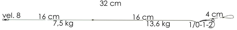 AKCE Boilie návazec Weed Phantom 32cm 11,4kg 1/0 (2ks)