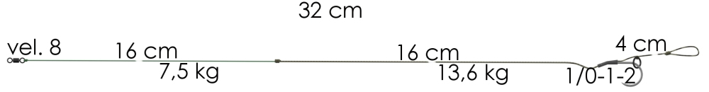 Boilie návazec Weed Phantom 32cm 11,4kg 1/0 (2ks)